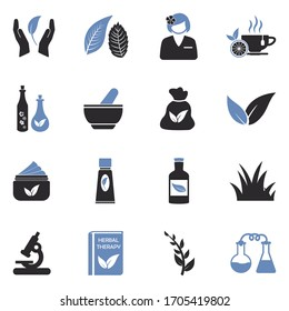 Herbal Therapy Icons. Two Tone Flat Design. Vector Illustration.