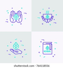 Herbal therapy thin line icons set: hands with leave, cup of tea, recipe book. Modern vector illustration.