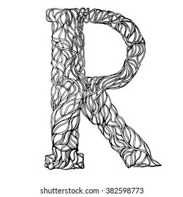 Adult Coloring Book Page Herbarium Font Type Herbal Vector Letters Letter R Can Be Used As