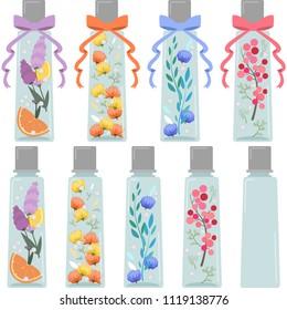 Herbarium illustration set (rectangular, Ribbon, and Ribbon none / empty bottle)