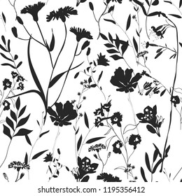 Herbarium monochrome seamless pattern with wild flowers, branches, leaves. Botanical background on white. Many kind of plants scattered random. Dark gray hand drawn elements. Design, fashion, prints