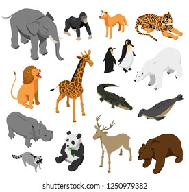 Herbivorous and predatory zoo animals set of isometric icons on white background isolated vector illustration