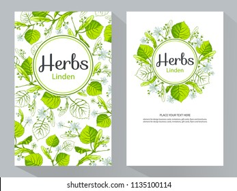Herbs Linden vertical banners, vector illustration, line art decorative Linden for design cosmetic, natural medicine, herbal tea, food menu.