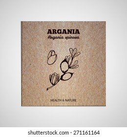 Herbs and Spices Collection - Argania.  Hand-sketched herbal element on cardboard background. Suitable for ads, signboards, packaging and identity designs