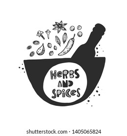 Herbs and spices icon. Hand drawn vector illustration for poster, cafe, farmers market, local shop, restaurant, business, farm design, store, culinary, banner, sticker