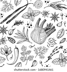 Herbs and spices seamless pattern. Hand drawn vector illustration. Sketch design. Engraved spice. Fennel, sage, vanilla, onion, garlic, anise, parsley, saffron, cardamom, chili pepper.