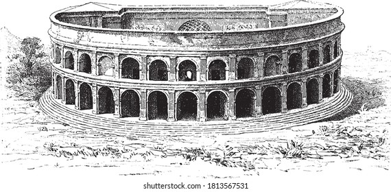 Herculaneum theater buried under the lava of Vesuvius the year 79 AD, From the Dictionary of Word and Things, 1888.