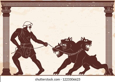 Hercules abducts Cerberus from Hell. Figure on a beige background with the aging effect.