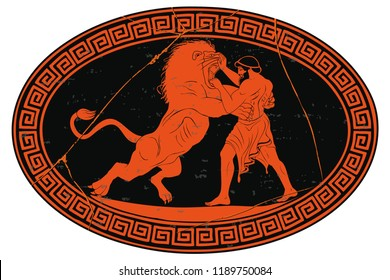 Hercules defeats the Nemean lion. 12 exploits of Hercules. Oval medallion isolated on a white background.