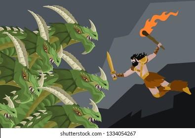 hercules fighting the hydra