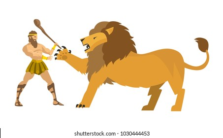 hercules heracles fighting the nemean lion
