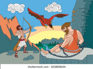Hercules kills an eagle that bites the liver of Prometheus chained to a rock