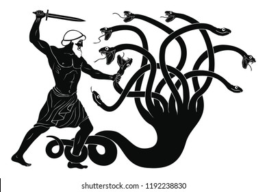 Hercules kills the Lyrna Hydra. 12 exploits of Hercules. Figure isolated on white background.