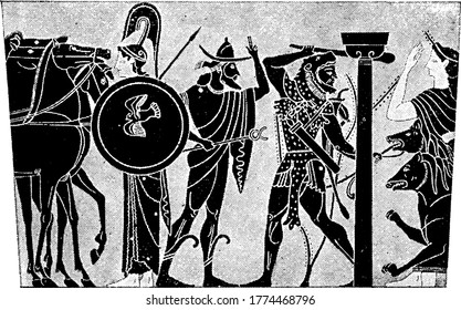 Hercules was the son of Zeus (Roman equivalent Jupiter) and the mortal Alcmene, in Greek mythology. The picture depicts, Hercules and Cerberus, vintage line drawing or engraving illustration