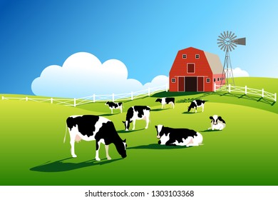 Herd of cows on pasture. Cattle farm vector illustration