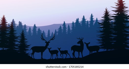 Herd of deer in the natural forest. Wild animals. Mountains horizon hills silhouettes of trees. Evening Sunrise and sunset. Landscape wallpaper. Illustration vector style. Colorful view background.