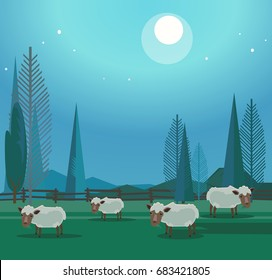 Herd of happy smiling sheep grazing in meadow. Vector flat cartoon illustration