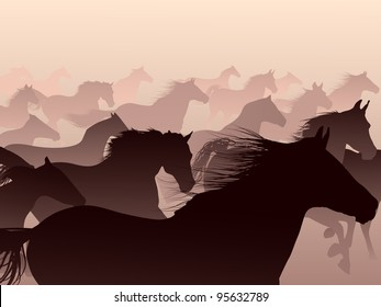 Herd of horses skipping in a smoke.