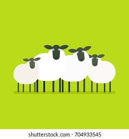 herd of sheep. Vector illustration