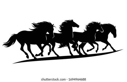 herd of wild mustang horses rushing forward - black vector silhouette outlines of running animals group
