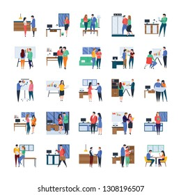 Here is business meetings, discussions, work in progress, flat illustrations set. Amenable visuals are helpful in many fields consequently, you have chance to use in relevant department.