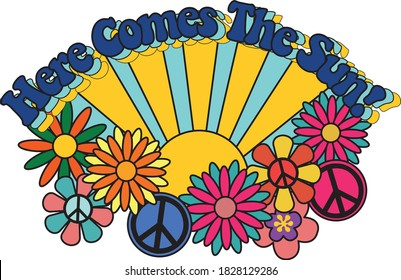 Here Comes the Sun Slogan with Colorful Abstract Background - Floral Pattern - 70's Themed Hippie Style Hamd Drawn Vector - Groovy Vibes