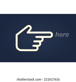 here. hand pointer icon. vector eps10