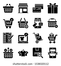Here is a set of shopping glyph icons, portraying an e commerce and shopping concept. Grab this editable set for personal and commercial use.