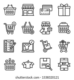 Here is a set of shopping line icons, portraying an e commerce and shopping concept. Grab this editable set for personal and commercial use