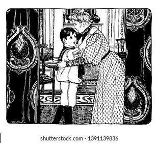 Here in this image boy shows his love for his mother by giving her a tight hug. This image shows unrestricted love between mother and the child, vintage line drawing or engraving illustration.