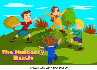 Here We Go Round The Mulberry Bush, Kids English Nursery Rhymes book illustration in vector