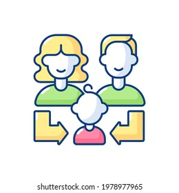 Heredity RGB color icon. Human life reproduction. Family generation. Couple of parent with daughter, son. Offspring connection to mother, father. Relative relation. Isolated vector illustration