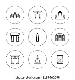 Heritage icon set. collection of 9 outline heritage icons with dolmen, obelisk, petra, pagoda, royal palace, rug icons. editable icons.