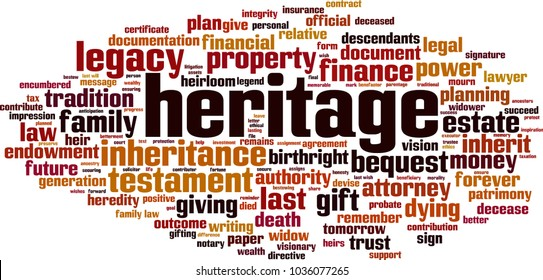 Heritage word cloud concept. Vector illustration