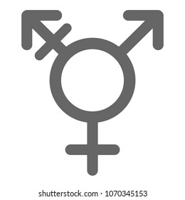 Hermaphrodite glyph. Transgender and transsexual symbol. Male with strake and male and female sign. Vector icon.