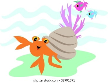 Hermit Crab and Fish Friends Vector