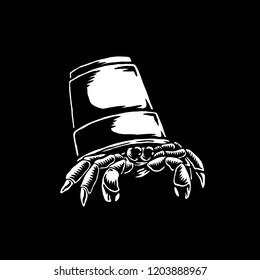 Hermit crab in plastic bucket illustration