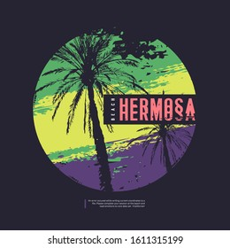 Hermosa California vector graphic t-shirt design, poster, print.