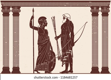 The hero of the ancient Greek myths Athena Pallada and Odysseus. Warriors with a weapon in the temple between the columns.