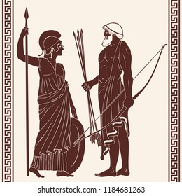 The hero of the ancient Greek myths Athena Pallada and Odysseus. Warriors with a weapon.
