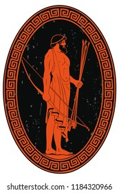 The hero of the ancient Greek myths Odysseus. Warrior with a weapon. Archer with a bow and arrows in his hands. Oval medallion isolated on a white background.