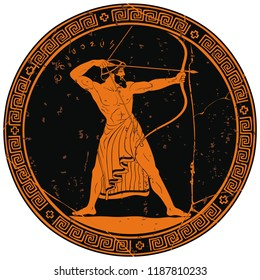 The hero of the ancient Greek myths Odysseus. Warrior with a weapon on the round black medallion. Archer with a bow in his hands.