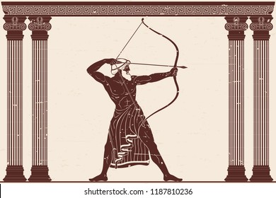 The hero of the ancient Greek myths Odysseus. Warrior with a weapon in the temple between the columns. Archer with a bow in his hands.