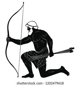 The hero of the ancient Greek myths Odysseus. Warrior with a weapon isolated on a white background. Archer with a bow and arrows in his hands.