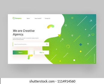 Hero banner or responsive landing page design with geometrical abstracts for creative agency concept.