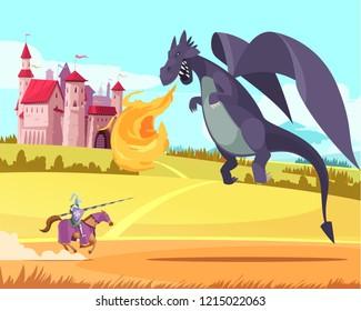 Hero knight ridder fighting fierce huge fierce dragon in front of medieval kingdom castle cartoon vector illustration