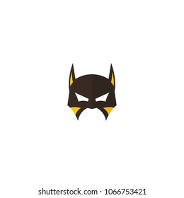 Hero Mask Face Character In Flat Design Template Vector Illustration With White Background
