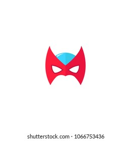 Hero Mask Face Character in flat design template. Vector illustration with white background