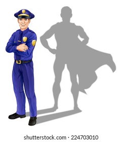 Hero policeman concept, illustration of a confident handsome policeman or police officer standing with his arms folded with superhero shadow