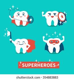 Hero teeth. Banner with happy cute teeth superheroes.Teeth care and hygiene concept. Vector flat illustration.